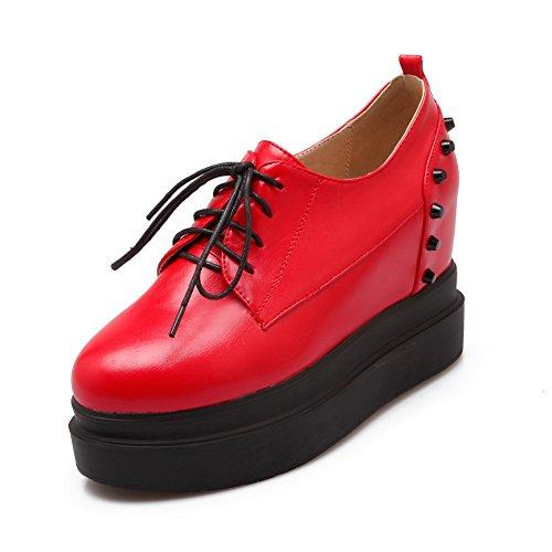Pompe lacci scarpe Pelle Imitated Balamasa In Borchie Rivetti Red Con RXpxX1wq