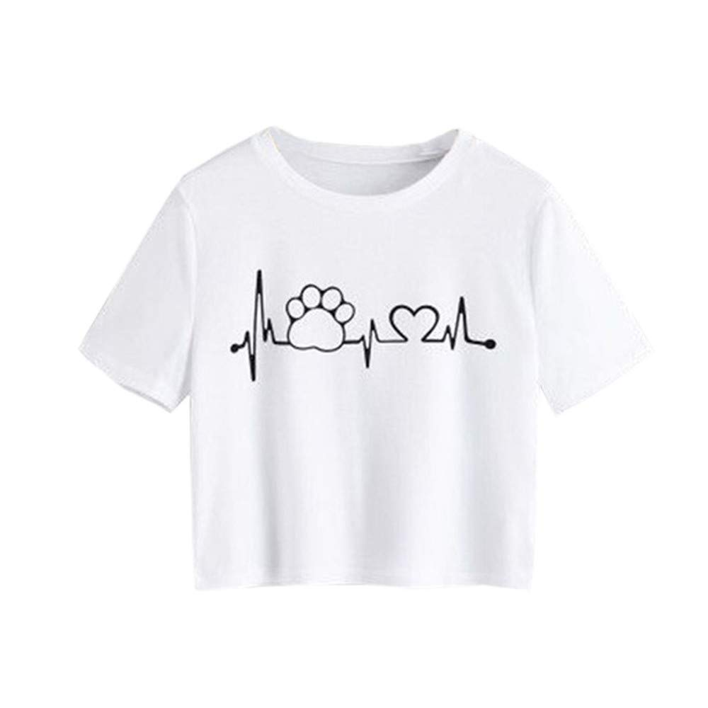 Yaseking Fashion Summer Short T-Shirt, Women Short Sleeve Printed Casual Slim Fit T Shirt O Neck Tops Blouse (S, White)
