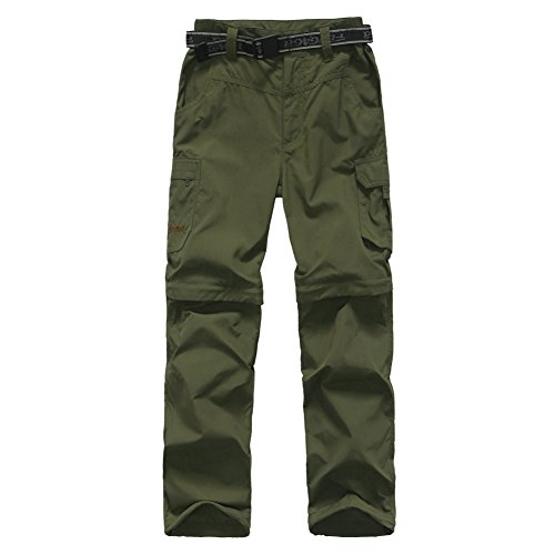 (FLYGAGA Boy's Quick Dry Outdoor Convertible Trail Pants Army Green S)