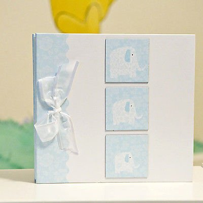 Blue Elephant Photo Baby Album - Memory Book For Little B...