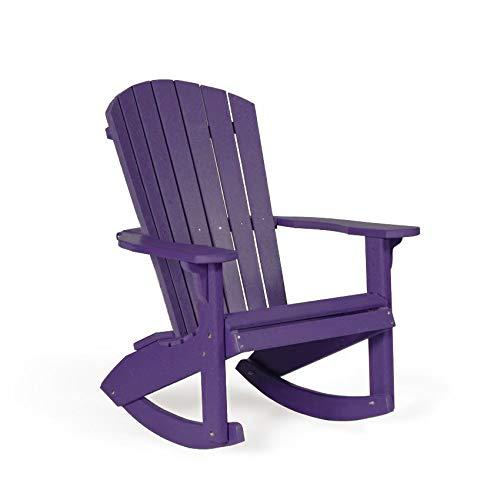 Leisure Lawns Fan-Back Adirondack Rocker, Recycled Plastic (Purple)