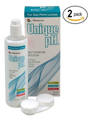 Menicon Unique pH Multi-Purpose Solution + RGP Lens Case. TWO 4 fl oz (120ml) bottles