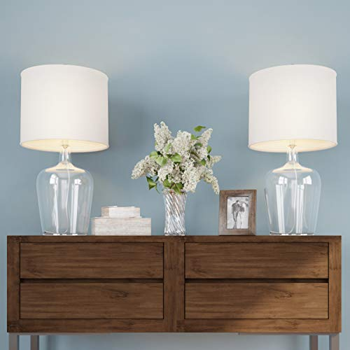 Lavish Home Table Lamps Set of 2 Cloche Style Glass Modern Farmhouse Lighting for Living Room, Bedroom or Office Energy Efficient LED