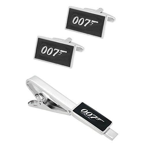 Athena Brand James Bond 007 Spectre - Movie TV Wedding Groomsman Mens Boys Tiebar Cufflinks Set w/Gift (James Bond Girls Costume)