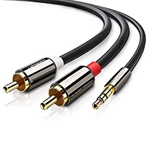 UGREEN 10584 Cable Audio Estéreo Jack 3,5mm a 2RCA Macho a Macho con Conectores Metálicos para Conexión entre Teléfono, iPod, Smart TV, Reproductor MP3, Tablet, PC al Amplificador, Sistema Estéreo(2M)