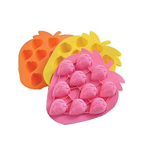 3 Pack X Strawberry Ice Cube Chocolate Soap Tray Mold Silicone Party maker (Ships From USA)