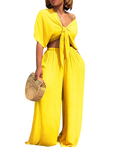 Womens Sexy Two Piece Outfits - Tie Front Crop Top Wide Leg Long Pants Set Jumpsuits Yellow XXL