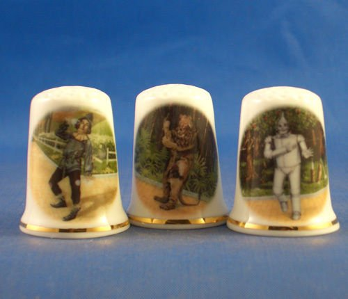 Porcelain China Collectable Thimbles - Set of Three Wizard of Oz