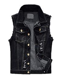 Pishon Men's Sleeveless Denim Vest Casual Slim Fit Ripped Classic Button Down Jean Jacket
