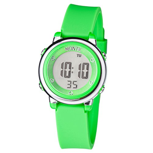 Montic Kids Green Digital Sports Multi Function Watch Alarm and Stopwatch with Colored LED display