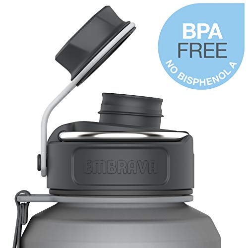 Embrava 40oz Water Bottle - Large with Travel Carry Ring - Wide Leak Proof Drink Spout - Heavy-Duty, BPA & BPS Free Tritan Plastic - Best for Sports, Hiking, Gym, Work, Outdoors
