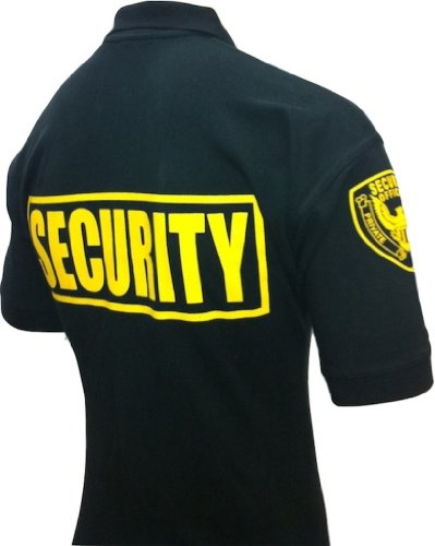 Security Polo Shirt 100% Cotton Pre-shrunk Deluxe Black with Gold Letters (3XL)