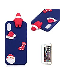 Cute Cartoon Case For iPhone X/iPhone XS,Funyee Stylish 3D Christmas Santa Claus Design Ultra Thin Soft TPU Silicone Case for iPhone X/iPhone XS 5.8 inch,Anti-scratch Rubber Durable Shell Smart Phone Case with Free Screen Protector,Blue