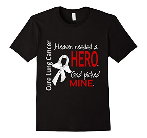Mens Lung Cancer T-Shirt Heaven Needed a Hero, God Picked Mine XL Black -