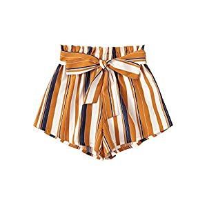 SweatyRocks Women's Casual Elastic Waist Striped Summer Beach Shorts