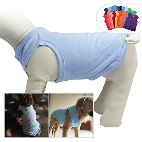 (2018 Pet Clothes Dog Clothing Blank T-Shirt Tanks Top Vests for Small Middle Large Size Dogs 100% Cotton Dog Summer Vest Classic (XXL, Light-Blue))