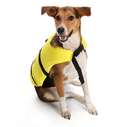 Seachoice 86320 Dog Life Vest - Adjustable Life Jacket for Dogs, with Grab Handle, Yellow, Size Small, 15 to 20 Pounds
