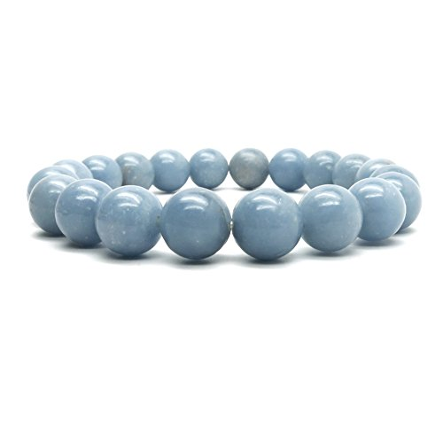 Angelite Bracelet 9mm Boutique Genuine Glacier Blue Round Gemstone Handmade Stretch Crystal Healing B02 (5.5
