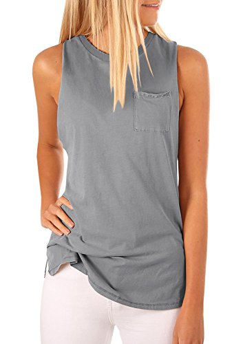High Tank - Tutorutor Women's High Neck Cami Tank Top Sleeveless T Shirts Plain Pocket 2018 Summer Tops