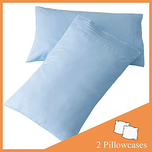 SONORO KATE Luxury Pillowcase Set Brushed Microfiber 1800 Bedding - Wrinkle, Fade, Stain Resistant - Hypoallergenic (Lake Blue, 2 Pillowcases Standard)