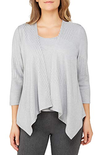- Angled Cardigan with Attached Top HthrSprGrey S
