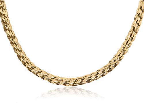 Crystal Trinket Gold Plated Silver (SilverLuxe 925 Sterling Silver 6 Row Braided Herringbone Chain Italian Made 18