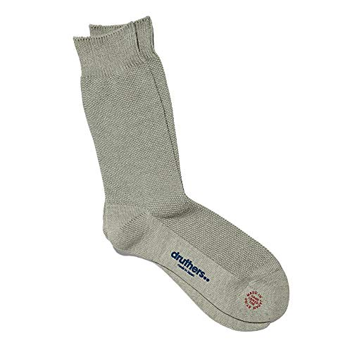 DRUTHERS Organic Cotton Pique Socks for Men / / Eco Friendly/Made in Japan (Grey, One Size)