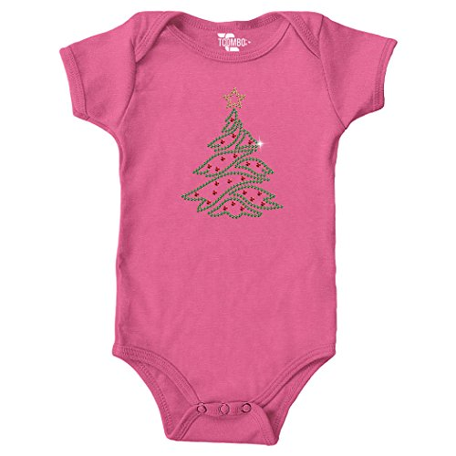 Rhinestones Green Christmas Tree Bodysuit (NEWBORN, PINK) - Tuxido Suit