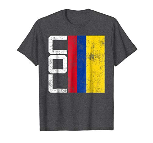 Mens Colombia Flag T-shirt National Team Country Supporter COL Medium Dark Heather -