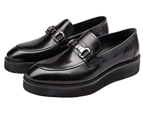 Mens Penny Loafer Genuine Leather Shoes Platform Shoes Belt Men Slip On Dress Shoes By Santimon Black Black 5Zj2JML35v