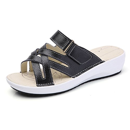 Wedges Casual Black Summer Slide Walking Slip Toe Women's JULY Sandals Beach on Open T Slippers Fq6xv48w8