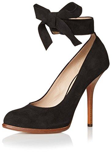 Céline Women's Pump With Ankle Tie, Black, 38.5 M EU/8.5 M (Celine Leather Heels)