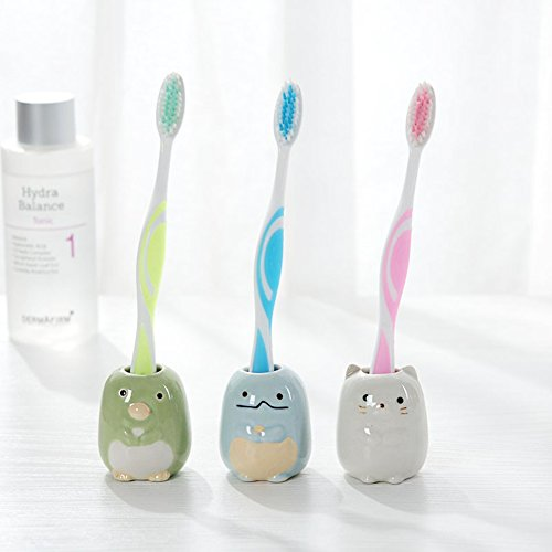 Cat Toothbrush Holder - Jaswass Set of 4 Mini Toothbrush Holder Cute Ceramic Tooth Brush Stand Small Bathroom Storage Organizer