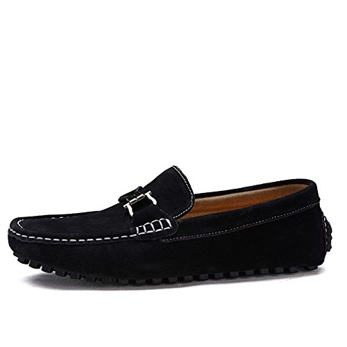 Mocassini guida da Mocassini barca Scarpe vera in bottoni on metallo vera morbida in Flat pelle pelle Business Nero da in Slip Shoes da Mocassini Fashion con automatici Nhatycir uomo wE8dqw5