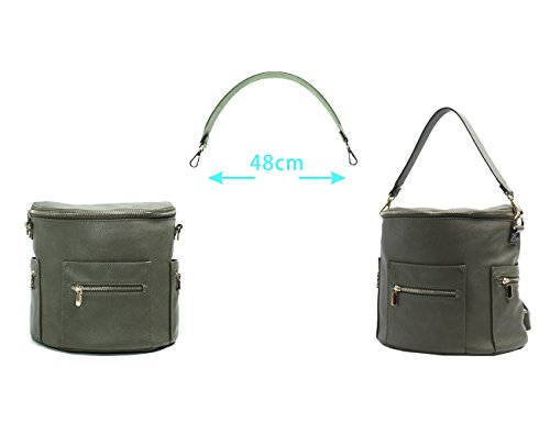 and Fong Leather Olive with Pocket Handle Backpack Backpack Strap Miss Mini Insulated Backpack Olive Crossbody Women by Ladies Kids Rucksack Leather Small qTAASg