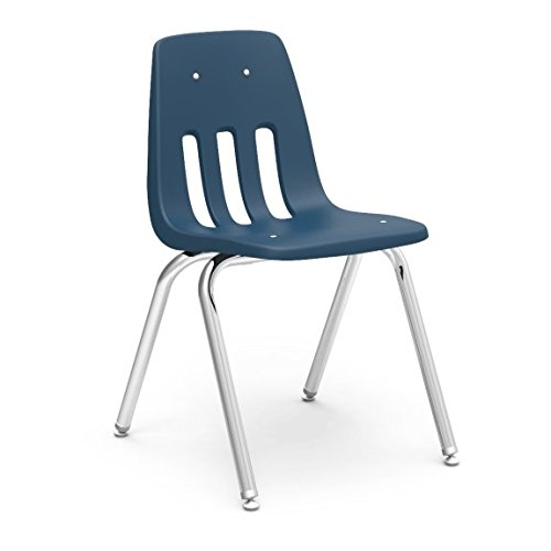 Virco Student Chair, Navy, Soft Plastic Shell, 18'' Seat Height, Chrome Frame, for 5th Grade to Adults, 4 Pack (9018-BLU51) by Virco (Image #2)