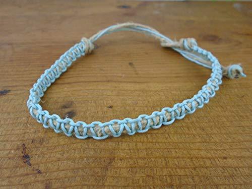 Hemp Thick Necklace (BEACH HEMP JEWELRY Carolina Blue Bracelet Anklet Choker Necklace Thick CUSTOM SIZE Adjustable Tie On)