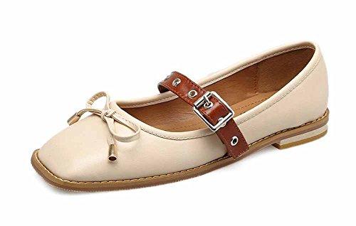 Cuero Cuero Corte Bowknot Zapatos De GLTER Beige Zapatos Mujer Hebilla Zapatos Plano qAHpt