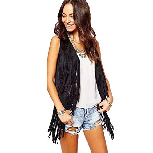 ShenPr Women Punk Faux Suede Ethnic Sleeveless Tassels Fringed Solid Vest Cardigan Coat (Black, L)