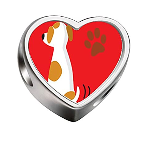 FERVENT LOVE Heart Charm Jack Russell Terrier Dog Photo Charm for Charm Bracelet/Necklace - Jack Heart Charm