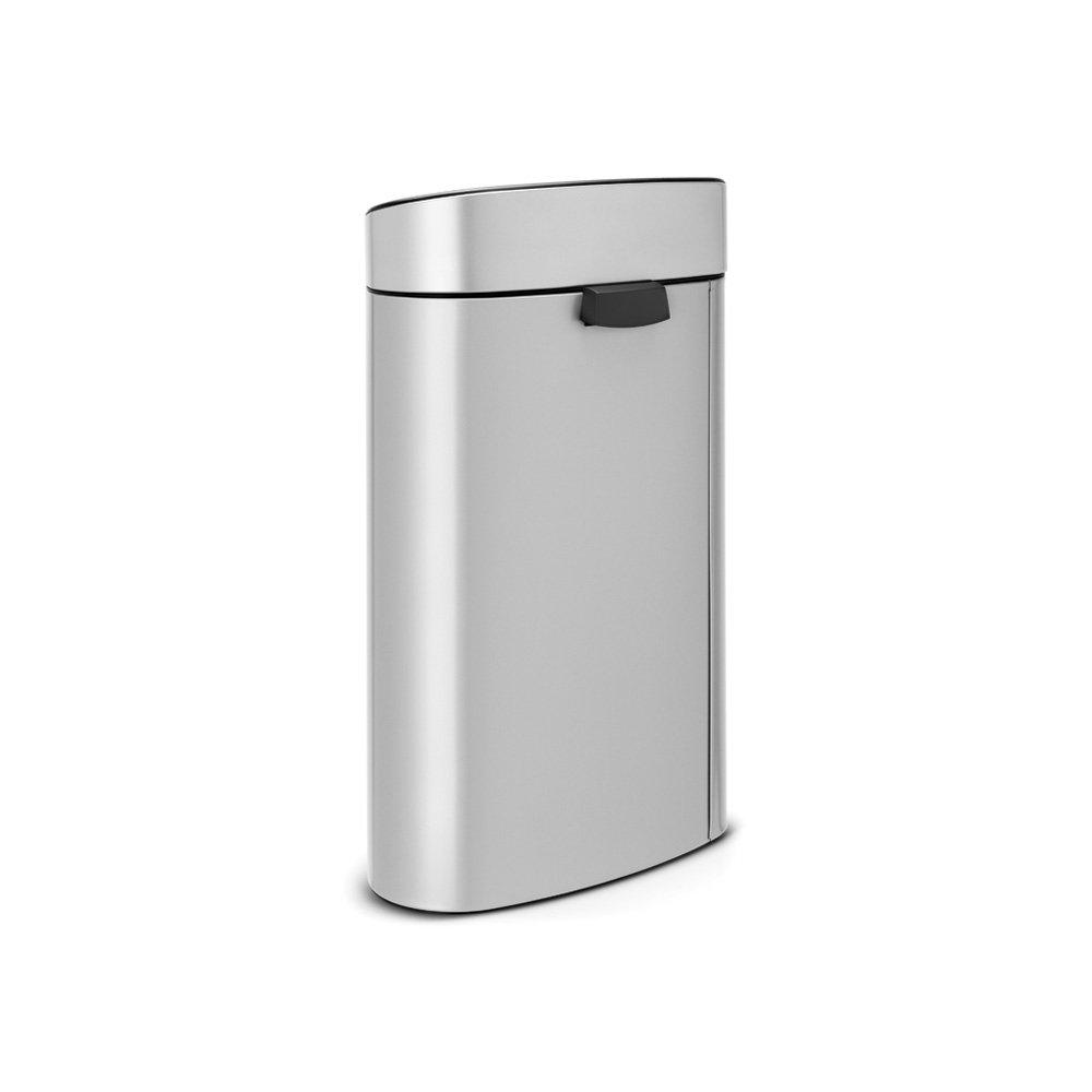 Brabantia Touch Bin Cubo de Basura, 40 litros, Acero Inoxidable, Gris Metalizado