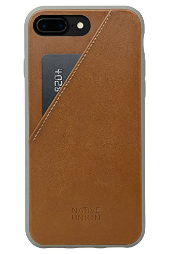 Genuine Leather Cell Phone Case - Native Union CLIC Card Case for iPhone 7 Plus, iPhone 8 Plus - Genuine Leather Drop-Proof Cover with Card Holder, Screen Bumper Protection and Anti-NFC Collision (Tan)
