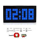 "Digital Larger Big Jumbo Number LED Hour/ Min Display Indoor Wall Desk Snooze Alarm Clock with Calendar, 6.5""* 3.4""* 2.2"" (Blue LED Display)"