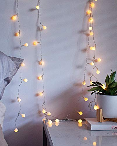 LuxLumi LED String Lights with Batteries Included for Bedroom Kids Nursery Christmas Holiday Home Decor Teens College Dorm Room Accessories & Halloween Party (Tiny White Globes w/Remote - 18 Feet) -