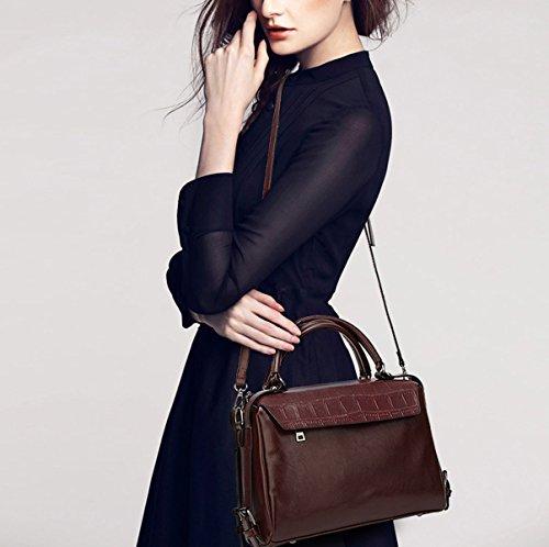 Mujer Europa Moda Retro Minimalista Bolso Ocio Todo-fósforo Bolso De Hombro Inclinado Solo Hombro Brown