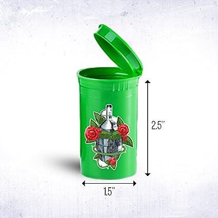 Granada Travel plástico Pop Top Botella contenedores médica, hierbas, vial ID 903 G