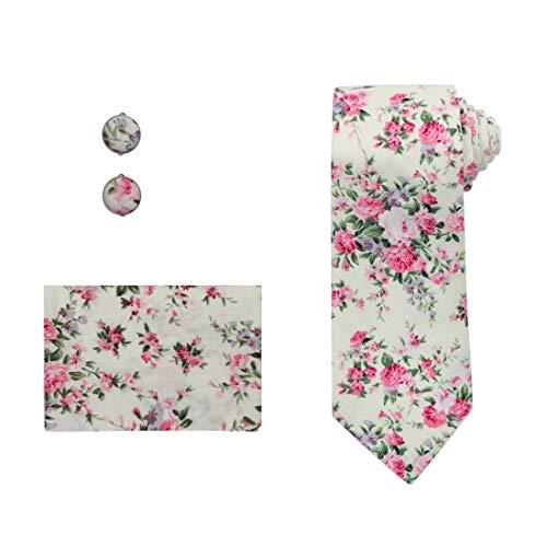 - Dan Smith C.C.N.A.019 Light Green Pink Floral Pretty Designer Cotton Necktie Cufflinks Hanky