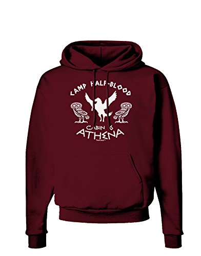 TOOLOUD Camp Half Blood Cabin 6 Athena Dark Hoodie Sweatshirt - Maroon - Small