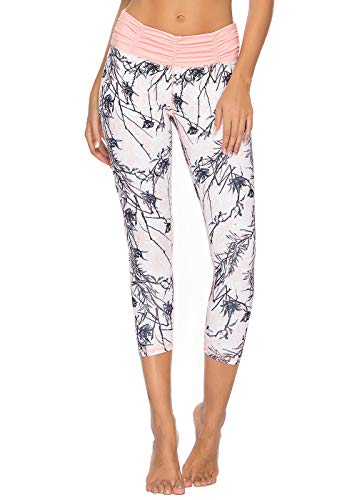 (Mint Lilac Women's Printed Yoga Pants Workou Capri t Running Leggings with Ruched Waistband X-Large)
