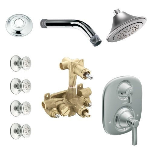- Moen KSPRO-SB-TS203CR Rothbury Vertical Spa Kit with Shower, Head, Arm, and Flange, Chrome